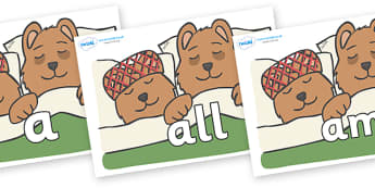 Foundation Stage 2 Keywords on Mummy & Daddy Bear - FS2, CLL, keywords, Communication language and literacy,  Display, Key words, high frequency words, foundation stage literacy, DfES Letters and Sounds, Letters and Sounds, spelling