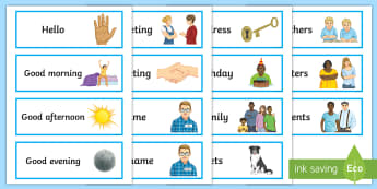 Introducing Myself to Others Word Cards - introduction, greetings, vocabulary, entry level, people, prompt, word cards