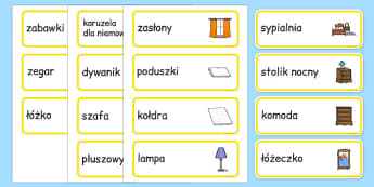 Karty ze słownictwem Sypialnia po polsku - dom, pomieszczenia