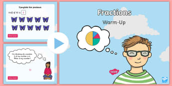 Year 2 Fractions Warm-Up PowerPoint - KS1 Maths Warm Up Powerpoints, warm up, warm-up, warm-ups, warm ups, KS1, key stage one, Year 2, yea