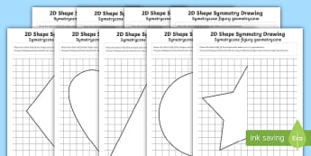 2D Shape Symmetry Drawing Activity English/Polish - maths, symmetry, symmetrical, half, halves, shape, 2D, Polish translation