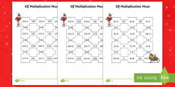 Elf Multiplication Maze Differentiated Activity Sheets - LKS2, maths, Christmas, multiplication, times tables, elf, lower key stage 2