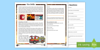 Fire Drills Differentiated Reading Comprehension Activity - English, reading, comprehension ,Australia, reading questions, topic led comprehension, skim reading