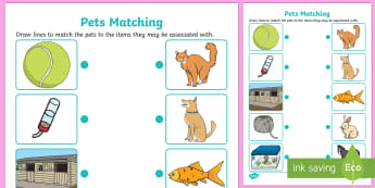 Pets Matching Activity - pets, matching, activity, match, matching activity