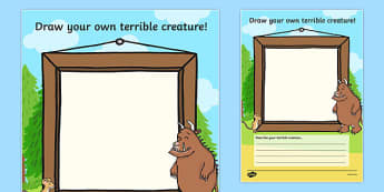Draw Your Own Terrible Creature Gruffalo - draw your own, gruffalo worksheets, draw a monster worksheets, drawing worksheets, the gruffalo worksheets