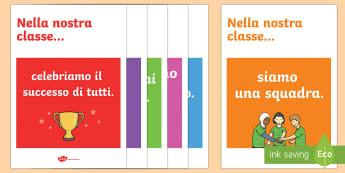 Nella Nostra Classe Posters - poster, motivazione, classe, alunni, regole, bambini, bilingue