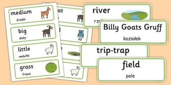 The Three Billy Goats Gruff Word Cards Polish Translation - polish, three billy goats gruff, word cards