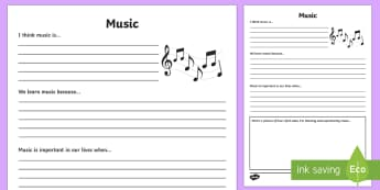 Music Reflection Writing Template - writing template, subject, self assessment, feelings, music, arts education