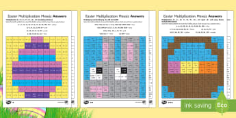 Easter Multiplication Mosaics Differentiated Activity Sheets - UKS2 Easter 2017 (16th April), year five, year 5, Y5, year 6, year six, Y6, maths, multiplication, k