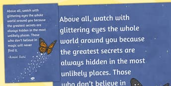 Above All Watch With Glittering Eyes Reading Quote Poster - quote