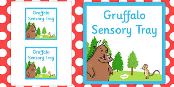 Gruffalo Themed Sensory Deep Tray Label - tray label, gruffalo