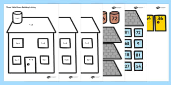 9 Times Table Active Picture Building Activity House - times table, times tables