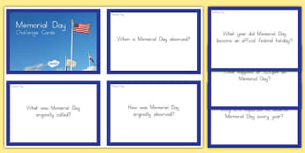 Memorial Day Challenge Cards - usa, america, memorial day, challenge cards
