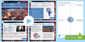 The Conservative Party Information PowerPoint Pack - Theresa May, manifesto, history, politics, vote, prime minister, member of parliament