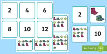 Counting in 2s Shoe Themed Matching Cards  - Counting in 2s Shoe Themed Display Posters - counting in 2, shoes, display posters, display, posters