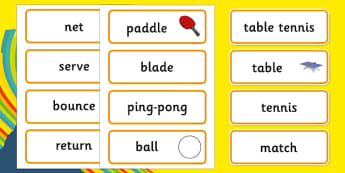 The Olympics Table Tennis Word Cards - Table Tennis, Olympics, Olympic Games, sports, Olympic, London, 2012, word card, flashcards, cards, activity, Olympic torch, events, flag, countries, medal, Olympic Rings, mascots, flame, compete