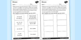 Mixtures Worksheet - mix, mixing, investigation, science, mixture