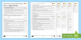 AQA Chemistry Unit 4.7 Organic Chemistry Student Progress Sheet - Student Progress Sheets, AQA, RAG sheet, Unit 4.7 Organic Chemistry