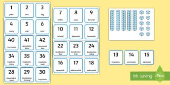 Zestaw kart Dziesiątkowy system pozycyjny - liczby, liczenie, cyfry, numer, numery, policz, matematyka, system, układ, pozycyjny, dziesiętny,