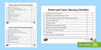 Parent and Carer First Day of School Nursery Checklist - Requests CfE, nursery, parental involvement, early years, key worker, checklist, new starter, starti