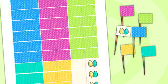 Easter Party Toothpick Flags - easter, easter party, flags, RE