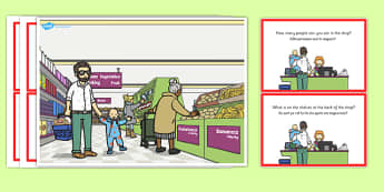 Supermarket Scene and Question Cards Romanian Translation - romanian, supermarket, scene, cards