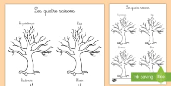 Feuille de coloriages : Les quatre saisons - feuille de coloriage, quatre saisons, saisons, colorier, coloriage, Four Seasons Tree Drawing Templa