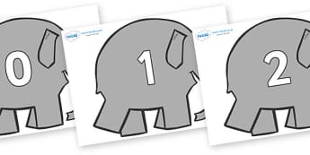 Numbers 0-50 on Elephants to Support Teaching on Elmer - 0-50, foundation stage numeracy, Number recognition, Number flashcards, counting, number frieze, Display numbers, number posters
