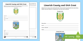 Limerick County and GAA Crest Activity Sheet - Football, GAA Hurling All-Ireland Senior Championship,coat of arms, Worksheet