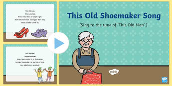 This Old Shoemaker Song PowerPoint - The Elves and the Shoemaker, traditional tales, Christmas, singing, song time, elf, PowerPoint