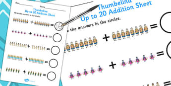 Thumbelina Up to 20 Addition Sheet - adding, addition, stories