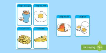 Flashcards : cuisiner et préparer les oeufs - poule, cycle 2, cycle 3, hen, chicken, Pâques, Easter, KS3, oeuf, coq, expressions françaises, voc
