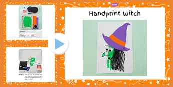 Handprint Witch Craft Instructions PowerPoint - handprint, craft, witch, instructions, halloween