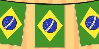 Brazil A4 Flag Bunting - countries, geography, flags, country