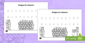 Resigue los números del 0 al 9- Día de la Madre - Día de la madre, mother's day in Spain, tracing, reseguir, números, numbers, 0 to 9, del 0 al 9,
