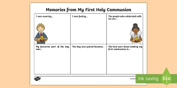 Memories From My First Communion Write-Up Activity Sheet - Confession & First Communion Resurces,Irish,Workshee