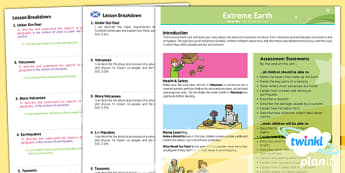 PlanIt - Geography LKS2 - Extreme Earth Planning Overview CfE