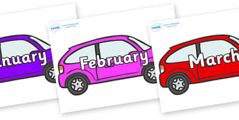 Months of the Year on Cars - Months of the Year, Months poster, Months display, display, poster, frieze, Months, month, January, February, March, April, May, June, July, August, September