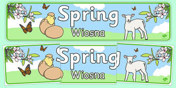 Spring Display Banner Polish Translation - polish, Spring, Display banner, poster, display, lambs, daffodils, new life, flowers, buds, plants, growth