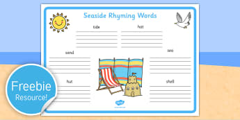 Seaside Rhyming Words Worksheet - seaside, sea side, rhyme, words