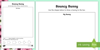 Bouncy Bunny Shapes Activity Sheet - NI Spring, 2d shapes, shape, easter, worksheet