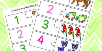 Jungle Themed Counting Matching Puzzle - counting aid, count