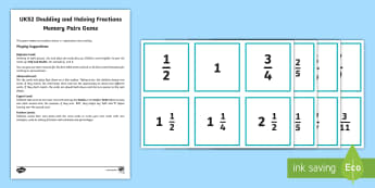 UKS2 Doubling Halving Fractions Memory Pairs Game - memory, pairs, double, half, doubling, halving, game, card game, fractions, mixed numbers, y5, y6, y