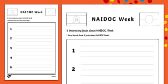 NAIDOC Week- 5 Interesting Facts Activity Sheet Activity Sheet-Australia, worksheet