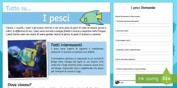 I Pesci Lettura Differenziata e Comprensiva - I, pesci, lettura, comprensiva, differenziata, italiano, italian, domande, leggere, indipendente