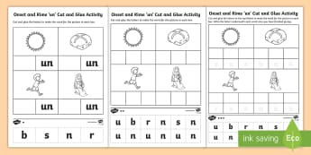 'un' Onset and Rime Differentiated Activity Sheets - EYLF, Literacy, phonological awareness, onset and rime, cvc words, Worksheets, english, kindergarten