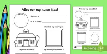 Alles oor my nuwe klass aktiwiteitsblad - Alles oor my nuwe klas, skryf, begin van die jaar, nuwe klas, teken, klas, skool.
