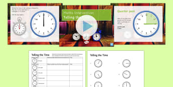 Telling the Time Lesson Pack - Time, minute, hour, o'clock, half past, quarter to, quarter past, minutes, hours, five, ten, twenty