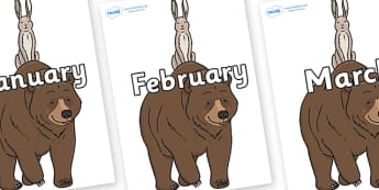 Months of the Year on Bear and the Hare - Months of the Year, Months poster, Months display, display, poster, frieze, Months, month, January, February, March, April, May, June, July, August, September