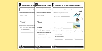 Adding -es (ch and sh) Differentiated Activity Sheet Pack - GPS, spelling, grammar, suffix, plural, worksheet